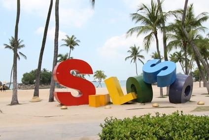 Siloso Beach bei Sentosa in SIngapur