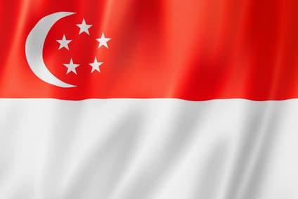 Das ist die Flagge von Singapur