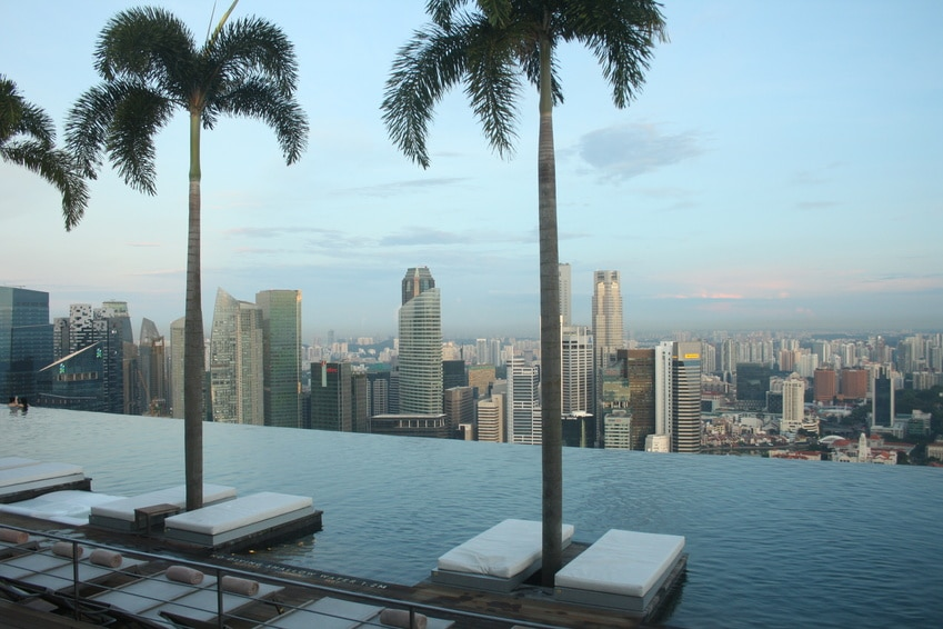 Ausblick vom Infinity Pool des Marina Bay Sands Hotels